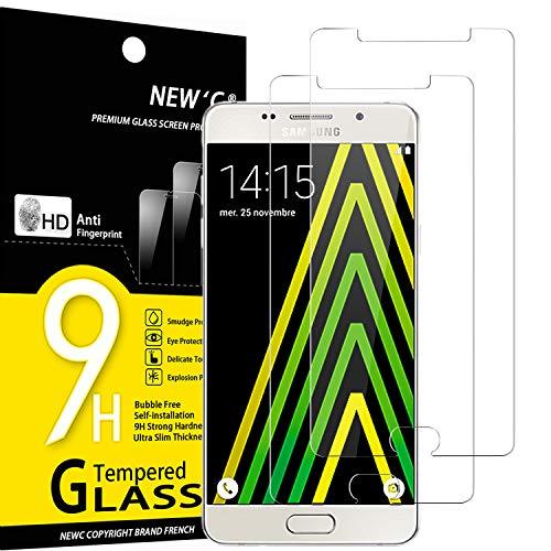 NEW C 2 Unidades, Protector de Pantalla para Samsung Galaxy A5 2016 (SM-A510), Antiarañazos, Antihuellas, Sin Burbujas, Dureza 9H, 0.33 mm Ultra Transparente, Vidrio Templado Ultra Resistente
