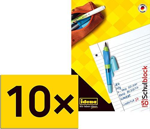 10 Schulblöcke/Schreibblöcke liniert DIN A4 / 50 Blatt je Block