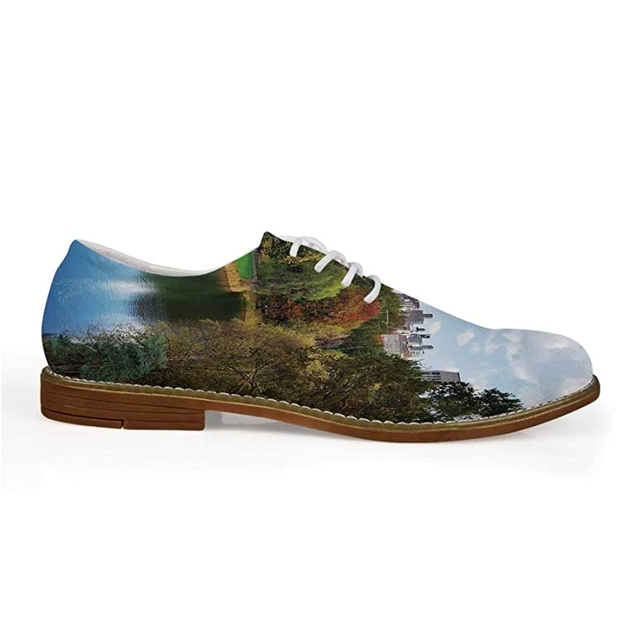 Giraffe Stylish Leather Shoes,Animal in Savannah Under Large Clouds at Sunset African Wildlife Themed Safari Decorative for Men,US 8