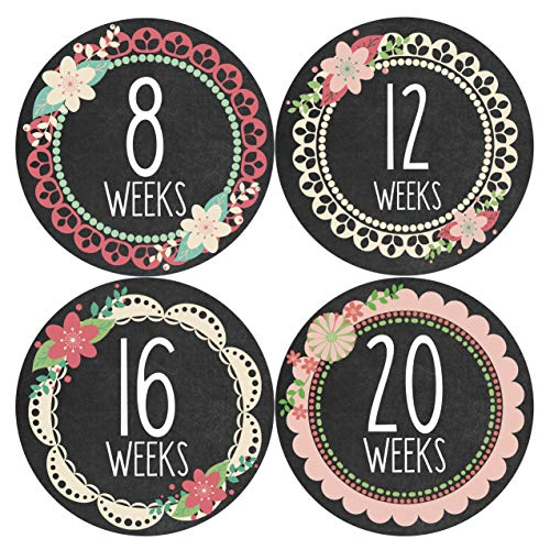 Months in Motion Pregnancy Weekly Belly Growth Stickers - Baby Bump Belly Stickers - Maternity Week Sticker - Pregnant Expecting Photo Prop Keepsake - Expectant Mom Gift - Style 914