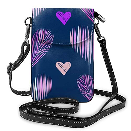 Lawenp Small Crossbody Cell Phone Purse for Women,Colored Hearts Pattern Shoulder Bag Wallet with Credit Card Slots