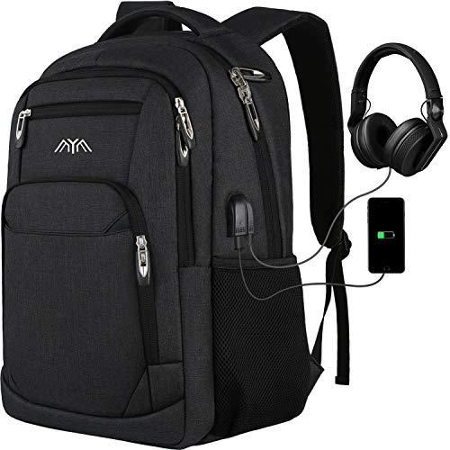Mochila para Portátil Mochilas Escolares Juveniles Hombre Mujer con Puerto de Carga USB y Puerto de Auriculares, Daypacks Impermeable para 17.3 Pulgadas Laptop