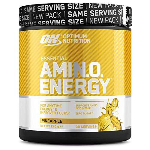 Optimum Nutrition ON Amino Energy Pre Workout en Polvo, Bebida Energética con Beta Alanina, Vitamina C, Cafeína, Aminoacidos Incluyendo BCAA, Piña, 30 Porciones, 270g, Embalaje Puede Variar