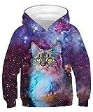 ALISISTER Hoodie Kinder Jungen Mädchen 3D Galaxie Katze Drucken Kapuzenpullover Beiläufig Langarm Sweatshirt Tops M