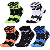 10Pack Sports Cycling Socks Colorful Anti Smell Ankle Running Athletic Socks (Reflective 5Pack, Medium)