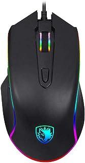 SADES Ratón Gaming,3500 DPI ratón para juegos RGB alámbrico Programable LED Mouse Gaming Profesional 7 Botónpara PC,Computadora Portátil,Computadora MacBook