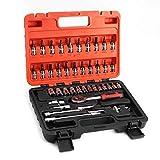 LHHZDH Herramienta de mano destornillador conjunto de herramientas de mano 46 unids 1/4 pulgadas herramientas de reparación de llaves métricas Socket llave tornillo kit herramienta