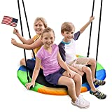 Juegoal 40 Inch Saucer Tree Swing, Large Rope Swing with Children Swing Platform Bonus Carabiner for...