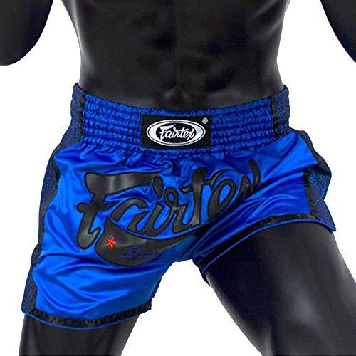 Fairtex Muay Thai Shorts BS1702 Blau Slim Cut Thaiboxen Kickboxen, blau / schwarz, M