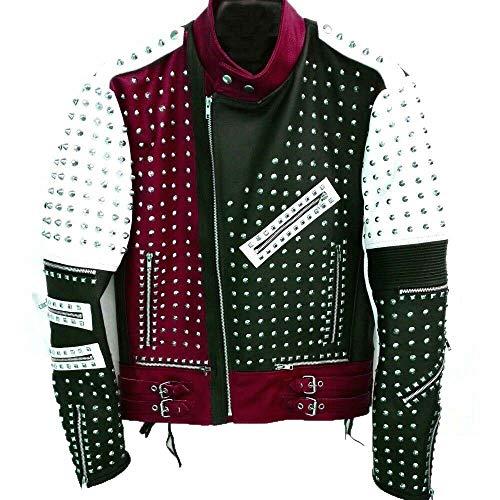 Knoxville Mall - Chaqueta de piel auténtica para hombre, diseño único rojo con tachuelas, color granate, negro, blanco, para hombre Black White Multicolor L (Ropa)