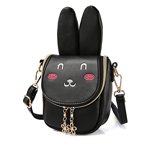 Pinky Family Super Cute Girls Purse Bunny Ear Shoulder Bag Messenger Bag Girls Gifts (Pattern 1 Black)