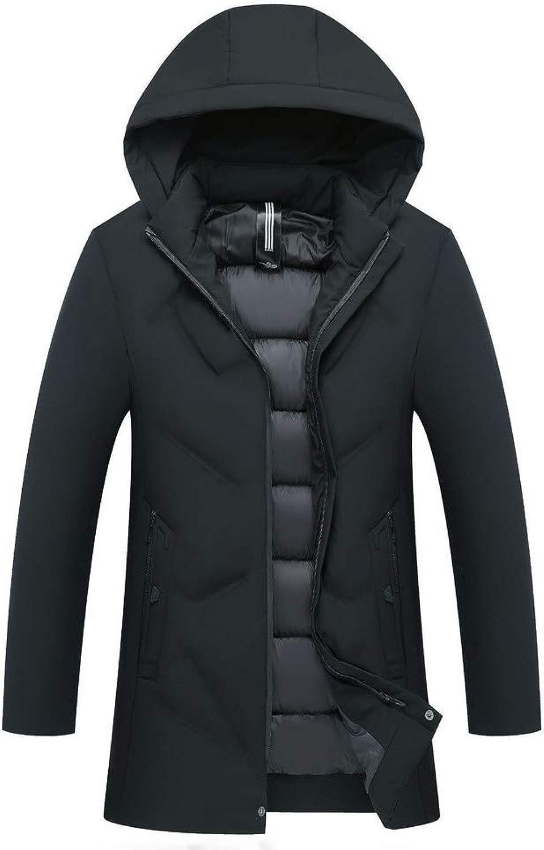 Lange Jacke Kaiki Herren Winterjacke Hooded Puffer Jacket Steppjacke Gefüttert mit Abnehmbar Kapuze