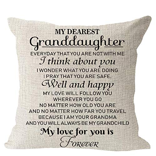 My Dearest Granddaughter Always Love You Gift for Granddaughter Cotton Linen Square Throw Waist Pillow Case Decorative Cushion Cover Pillowcase Sofa 18x 18
