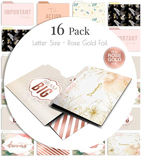 Rose Gold File Folders Set - 16 Foil Colored 9.5' x 11.5' Letter Size Decorative Folders - Durable Card Stock Foil Printing and Cut-Tabs Pockets by Merry Expressions
