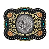 Nocona Boots Men's Indian Chief Skull Floral Scroll Antique Silver Western Belt Buckle 37038, 4' x 3.25'