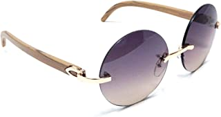 Diplomat Rimless Round Metal & Wood Frame Sunglasses