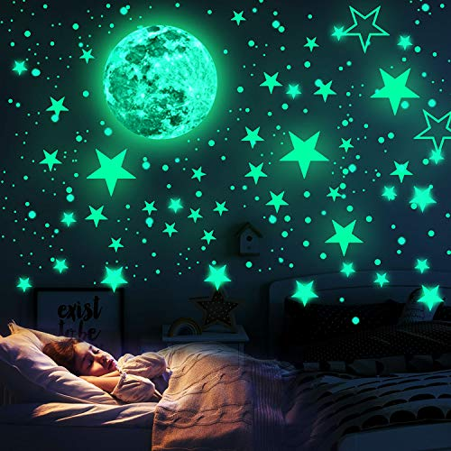 WELLXUNK Pegatina Pared Fluorescente, Adhesivos Luminosos Para Pared, Pegatinas De Pared Luna y Estrellas, Para Dormitorio De...