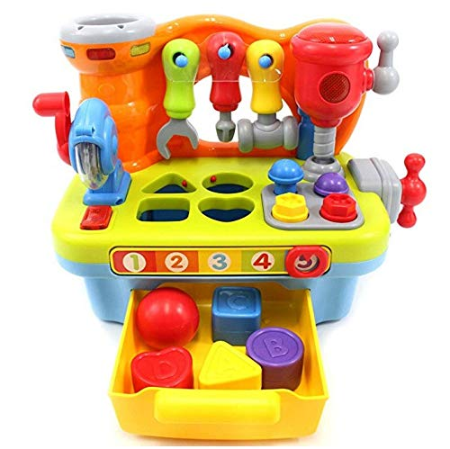 Yuege Musical Learning Workbench Kids Toy with Tools, Fun Engineering Sound Effects and Lights/Shape Sorter, Best Choice Gift for Children [Ship from USA]