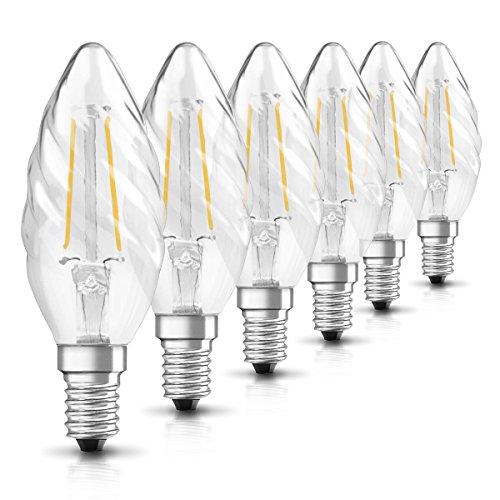 Osram Ampoule LED Filament, Forme flamme, Culot E14, 2.8W Equivalent 25W, claire, Blanc Chaud 2700K, Lot de 6 pièces