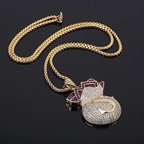 Nuevo Bling Bling Full Cubic Zircon Money Bolso Colgante Collar de Moda Hip Hop Rock joyería para Hombres Mujeres Regalo 70cm