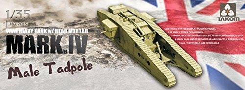 TAKOM TAK2015 - 1/35 Primera Guerra Mundial Tanque de Batalla Mark IV Hombre Renacuajo con Posterior Mortero