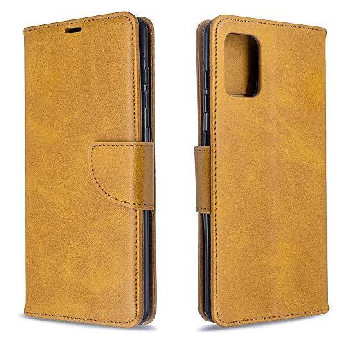 Runbiu Kompatibel mit Samsung Galaxy A71 Hülle, Premium PU-Leder Book Style Handyhülle TPU Bumper Flip Wallet Brieftasche Handyhülle Schutzhülle, Gelb