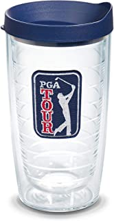 Tervis 1281159 PGA Tour Insulated Travel Tumbler with Emblem and Navy Blue Lid, 16oz - Tritan, Clear