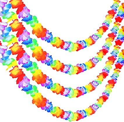 Shuguan 5 Pack 10 Feet Multicolor Luau Party Garland Tropical Flower Lei Garland for Hawaiian Luau Tropical Party Supplies