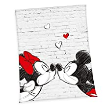 Herding Disney - Manta de microfibra (poliéster, 150 x 200 cm), diseño de Mickey y Minnie, color blanco