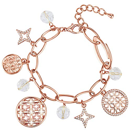 Lulu & Jane Damen-Armband Sterne rosévergoldet verziert mit Kristallen von Swarovski® weiß 17,5 + 4 cm - Bettelarmband mit Sternanhängern Armband Roségold