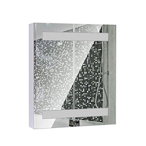 Homcom Armadietto Pensile Da Bagno Con 1 Anta, Specchio E Luci A LED | 2 Ripiani Interni | MDF Bianco (60 X 50 X 15Cm)