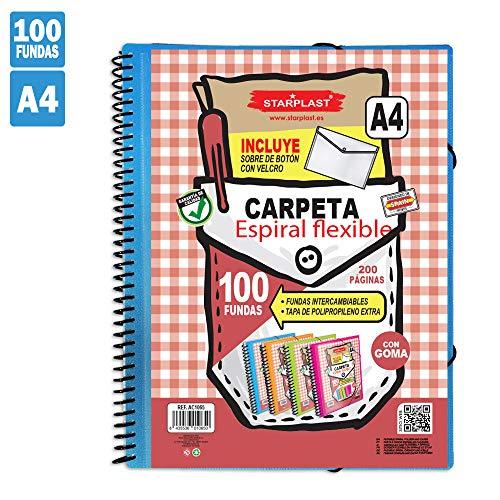 Starplast Carpeta Espiral Flexible, Carpeta Fundas, 100 Fundas Transparentes, Tamaño A4, Tapas de Polipropileno, Portada Personalizable, para Oficina, Uso Escolar, etc. (Azul, 100 Fundas)