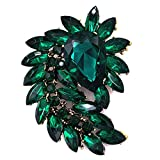 SELOVO Marquise Shape Large Flower Green Brooch Pin Jewelry Antiqued Gold Tone