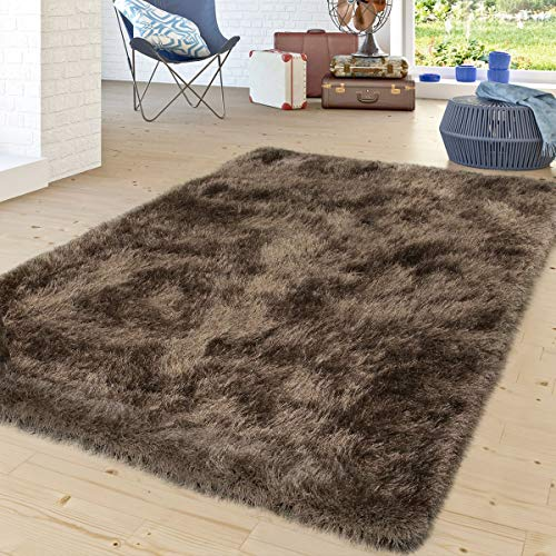 TT Home Alfombra Salón Moderna Shaggy Pelo Largo Monocolor Marrón Be