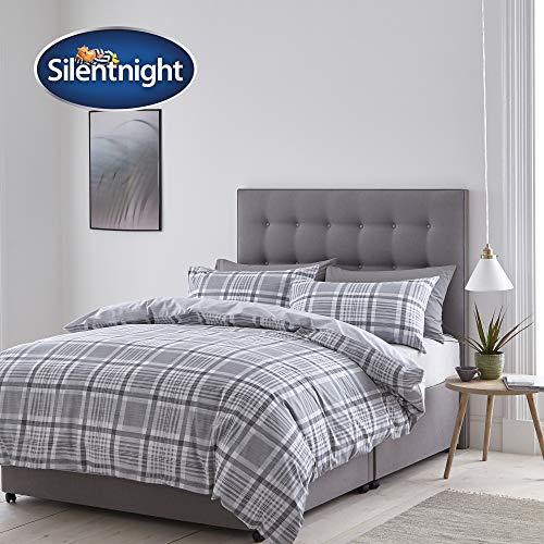 Silentnight Nils Check Duvet Set, Grey, Double