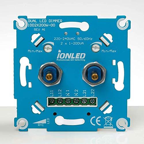 Ion Industries Duo Dimmer | Interruptor de pared de diseño atemporal, interruptor de luz regulable profesional, botón de encendido/apagado y rotativo, apto para todas las marcas de placas delanteras |