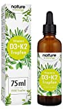 Gloryfeel Nature Integratore Vitamina D3 + K2 75ml in Gocce - VitaMK7 di Gnosis® 99,7% Purezza All Trans + Vitamina D3 (1000 UI) - alta biodisponibilità - Produzione testata in laboratorio in Germania