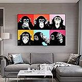 UIOLK Carteles e Impresiones artísticos de la Lona del Mono Divertido Abstracto en la Pared imágenes artísticas del Graffiti de los Animales calcomanías de la Pared de la habitación de los niños
