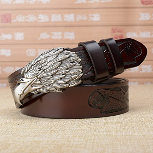 WRH Belts Mode Persönlichkeit Adler Kopf Schnalle Ledergürtel Männer Casual Leder Jeans Gürtel,Silverbuckle,B