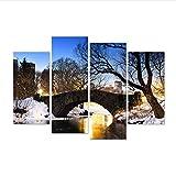 SKShenkai 4 Pièces Paysage Toile Mur Art York Central Park en Hiver avec Pont sur Le...