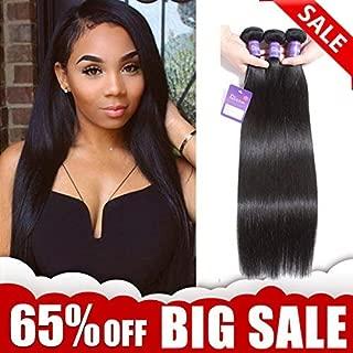 Faddishair Straight Hair Bundles 14 16 18 Inch Brazilian Human Hair Bundles 100% Unprocessed Virgin Hair 7A Human Hair Natural Color Remy Hair Weave Total 300g/10.5oz