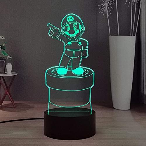 Lámpara de ilusión de luz de noche Led 3D USB de Anime Super Mario Bros Yoshi Mario decoración de escritorio para dormitorio cumpleaños niños y adolescentes