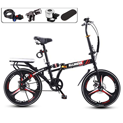 TXTC 16 / 20in Damenfahrra for Erwachsene Leichte Carbon Steel 7-Gang Single Speed Klappfahrrad Bike City Mini Compact-Fahrrad-Pendler In Der Stadt (Color : Black, Size : 20in)