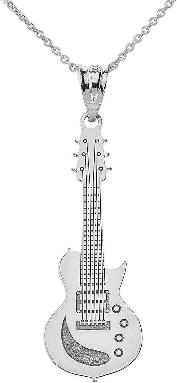 14K Or Jaune Solide Guitare électrique design Fantaisie Charm Pendentif Pour Collier