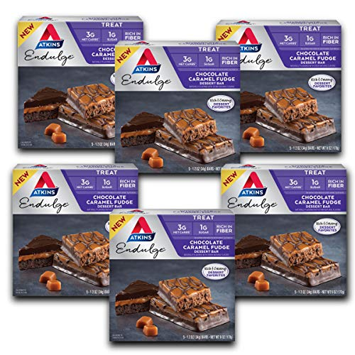 30 Atkins Endulge Treat Chocolate Caramel Fudge Dessert Bars Now $12.54