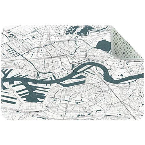 Yoliveya Weiche Fußmatte Bodenmatten Live Satellite Map weiß saugfähig rutschfest Eingangsmatten Gummi Teppich für Zuhause Büro 24 x 16 Zoll, mehrfarbig, 80x50xm/31x20in