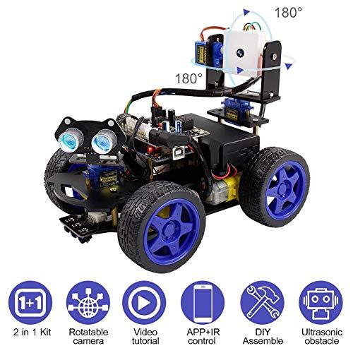 Smart Robot Kit De Voiture Caméra WiFi Télécommande STEM Education Voiture Jouet Robotique Kit Compatible avec L'apprenant Support DIY Scratch Codage pour Les Enfants Adolescents Adultes,Noir