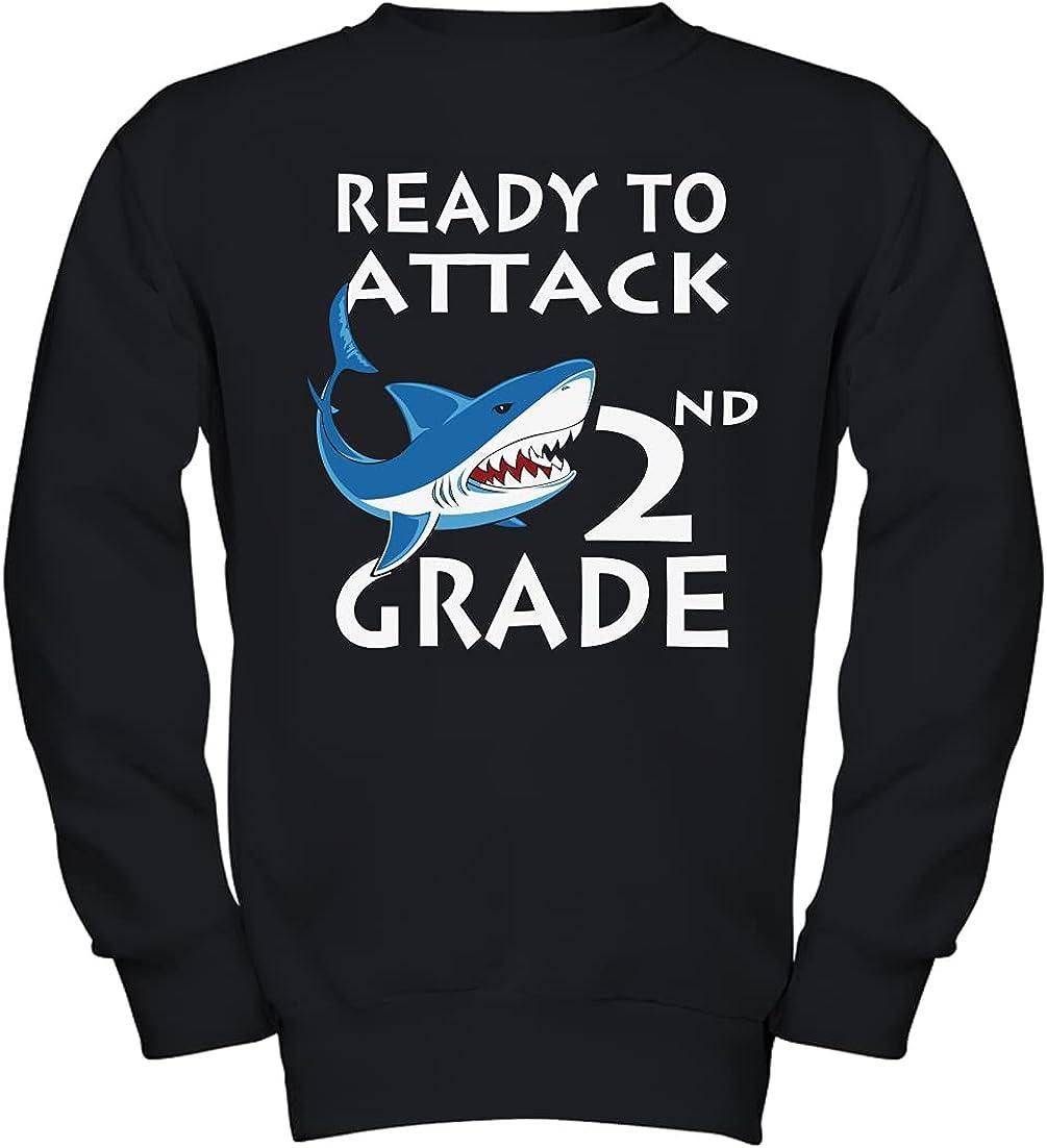 Shark Ready to Attack 2nd Grade Kids, Kids Long Sleeve, Kids Hoo