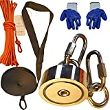 Thenewallhere Magnet Fishing Kit with Rope,Super Powerful Double Sided Magnetic Fishing Set,Ultra Strong Salvage Magnets Underwater,2 Carabiners Avoid Big Brute Neodymium Recovery Magnet Lost in Water
