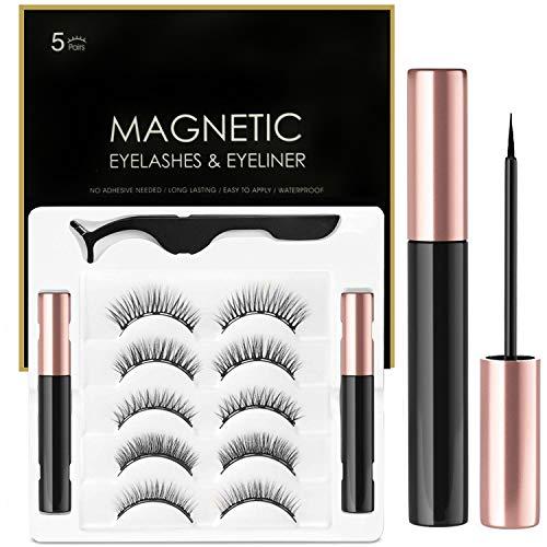 2er Magnetischer Eyeliner Magnetic Eyelashes Kit,Wasserdichter Langlebiger Magnetic Eyeliner mit 5...